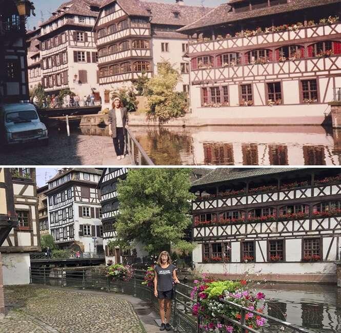 Mulher recria suas fotos 30 anos depois nos mesmos lugares