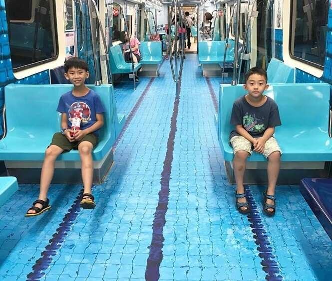 """Taiwan surpreende passageiros ao transformar vagões de metrô em """"áreas esportivas"""""""