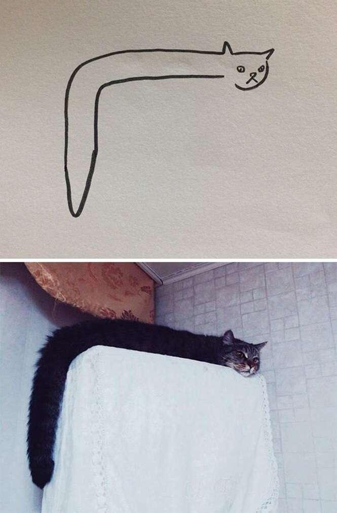 Desenhos bizarros, mas que retrataram gatos fielmente