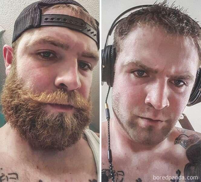 Homens que se transformaram depois de fazerem a barba