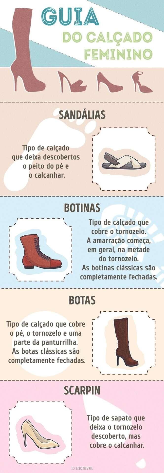 Guia de calçados para mulheres