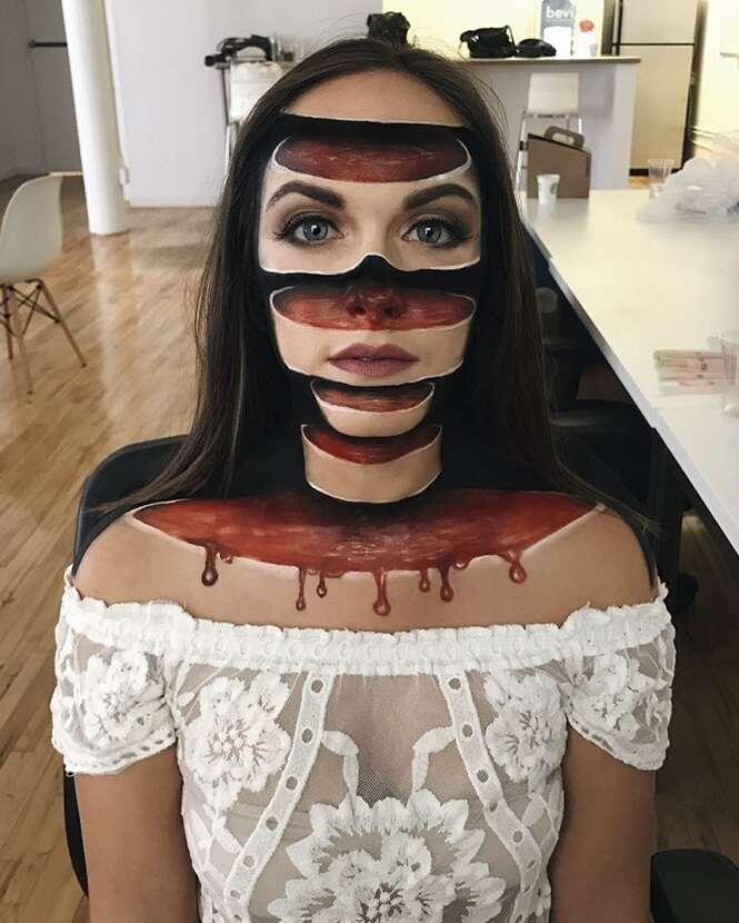 Ela cria ilusões de ótica impressionantes usando maquiagem