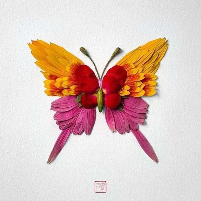 Artista talentoso cria insetos usando flores