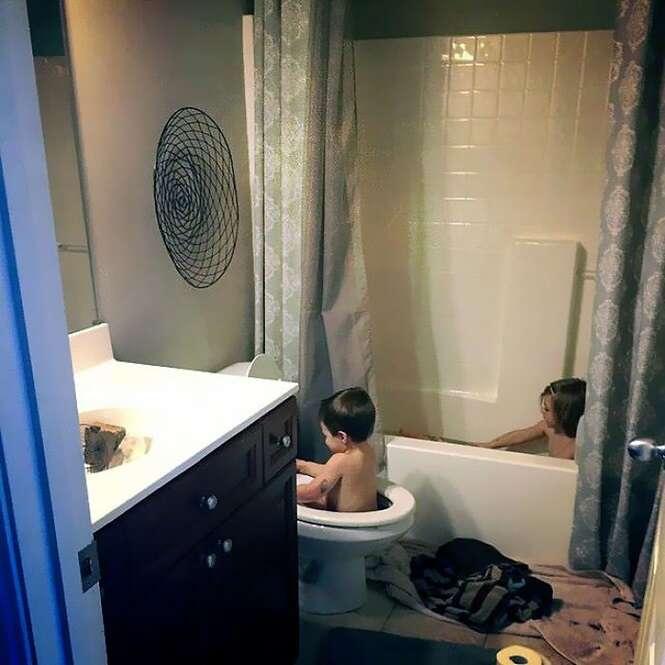 Fotos mostrando o resultado de deixar crianças sozinhas