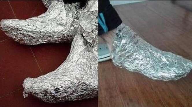 O que acontece se você envolver os pés em papel alumínio e esperar por algumas horas vai te deixar impressionado