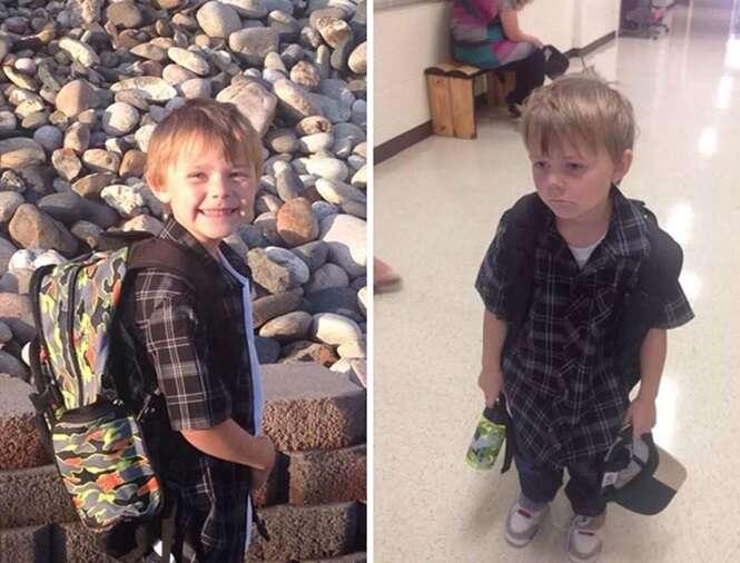 Fotos divertidas mostrando crianças antes e depois do primeiro dia de aula