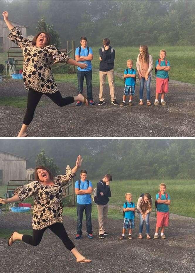 Fotos mostrando as reações impagáveis de pais no dia da volta às aulas dos filhos