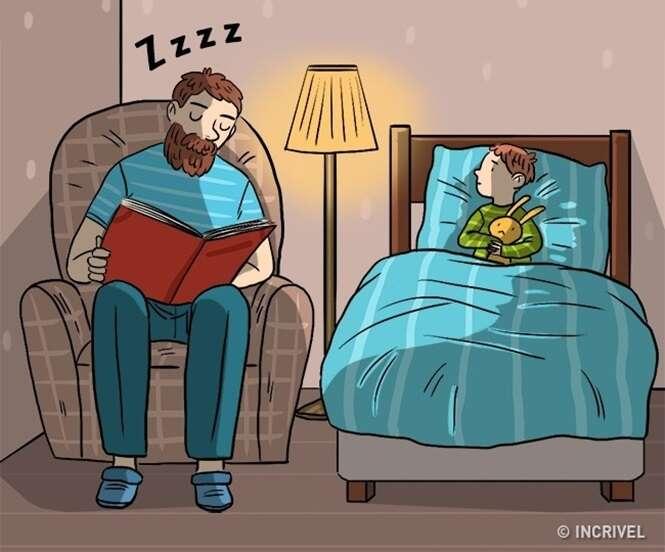 Comics mostrando como os homens educam os filhos