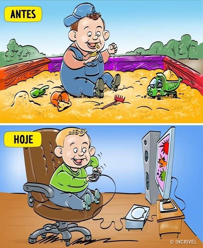 Diferenças entre a nossa infância e a de hoje em dia, em 14 quadrinhos