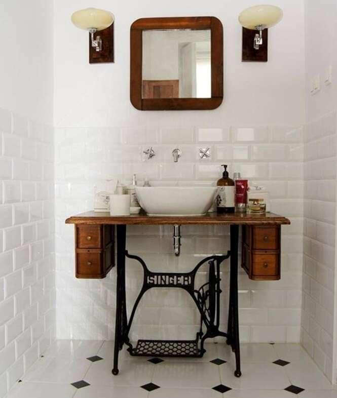 13 pias de banheiro tão criativas que extrapolaram o que poderíamos imaginar  -> Pia Para Banheiro Rustico