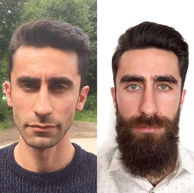 Antes e depois provando que os homens ficam muito diferentes sem barba