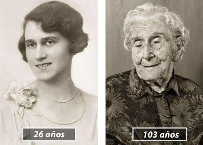 Fotos mostrando pessoas na juventude e aos 100 anos
