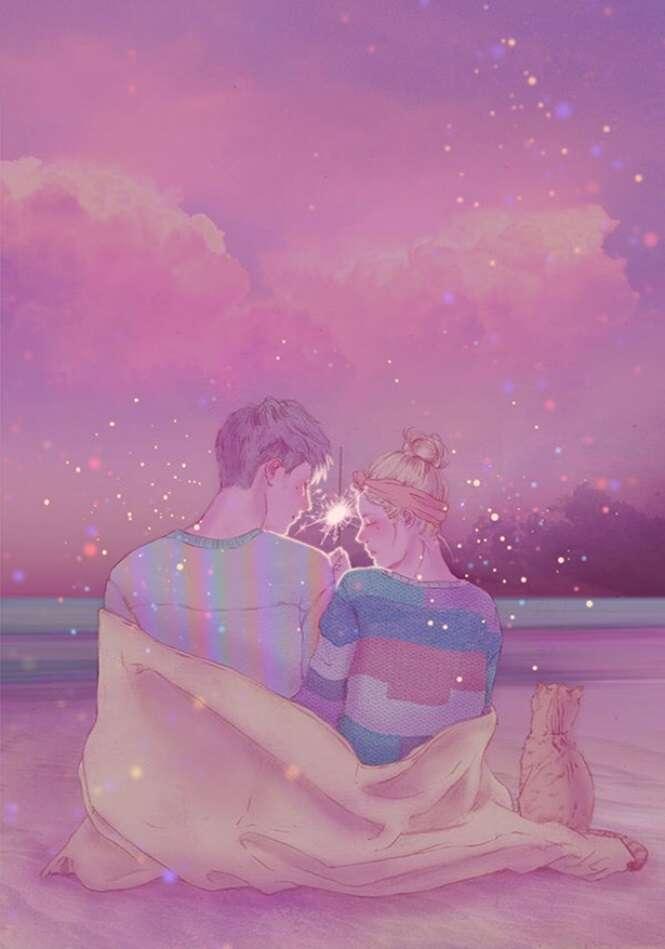Ilustrações mostrando a beleza de estar apaixonado