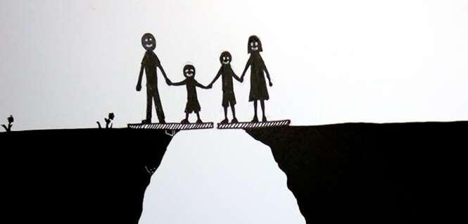 Ilustrações resumindo um divórcio