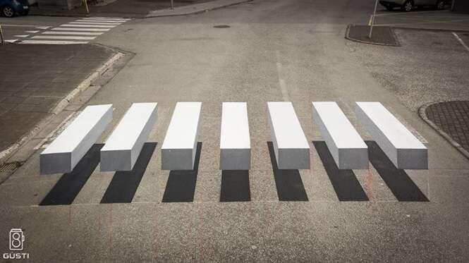 Cidade na Islândia pinta faixa de pedestres em 3D para fazer condutores dirigirem mais devagar
