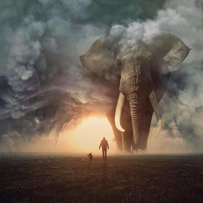 Artista digital cria mundo onde animais são gigantes