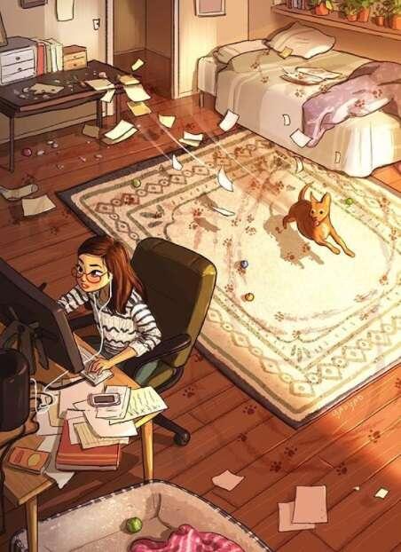 Ilustrações a respeito da vida de quem vive só e feliz