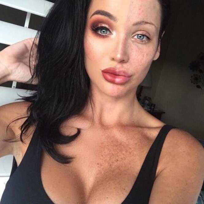 Nova tendência no Instagram: mulheres postam fotos metade maquiadas