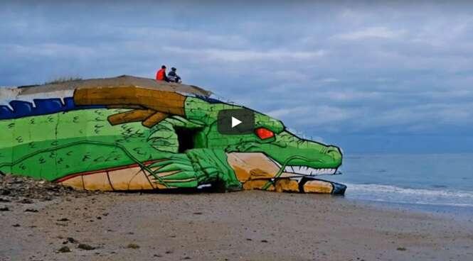 Dupla de artistas de rua transforma casa abandonada em praia da França em Shenlong, personagem de Dragon Ball