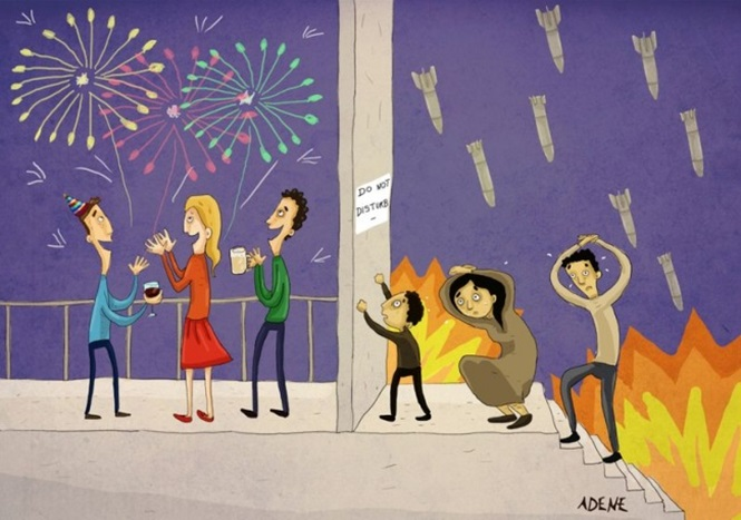 Cartoons mostrando o outro lado do mundo moderno