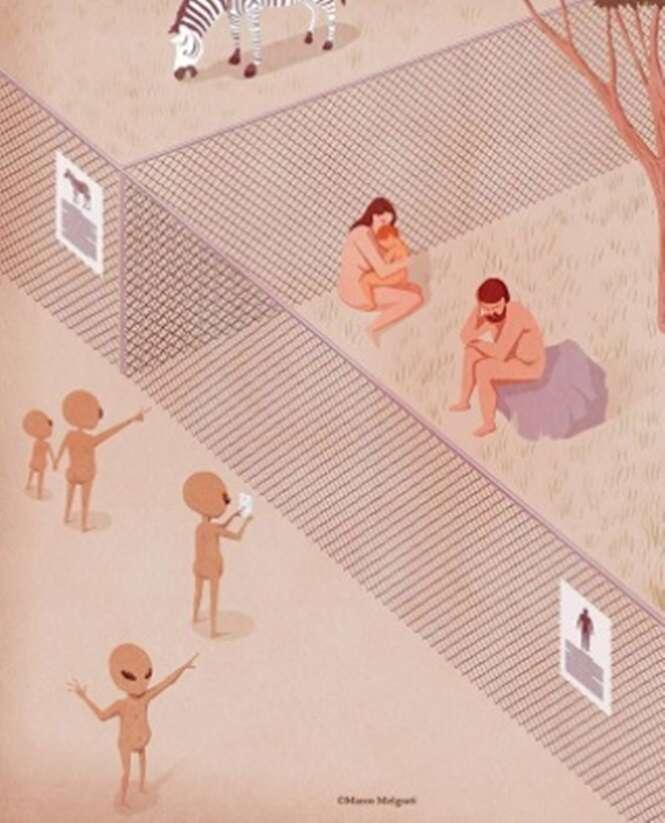 Ilustrações retratando o lado obscuro da nossa sociedade