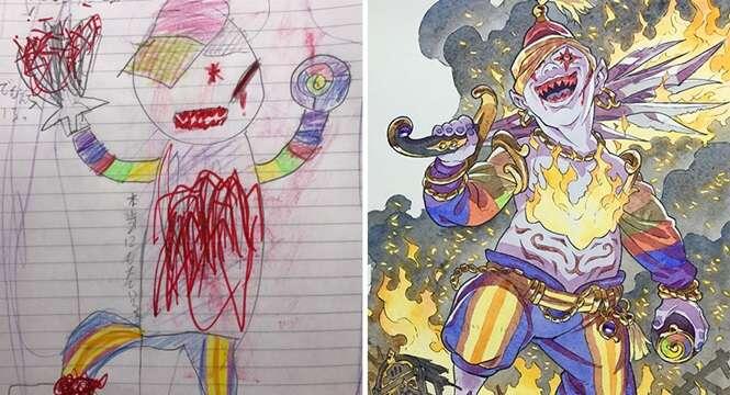 Pai transforma desenhos dos filhos em fantásticos personagens de anime