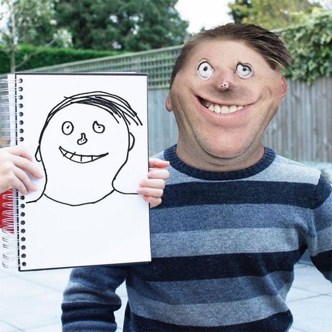 Este pai tem como paixão recriar os desenhos do filho