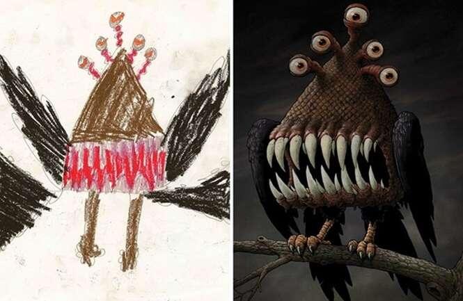 Desenhos infantis recriados profissionalmente