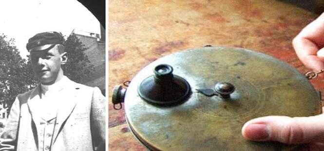 Estudante esconde câmera espiã na roupa para fazer fotos na rua na década de 1890