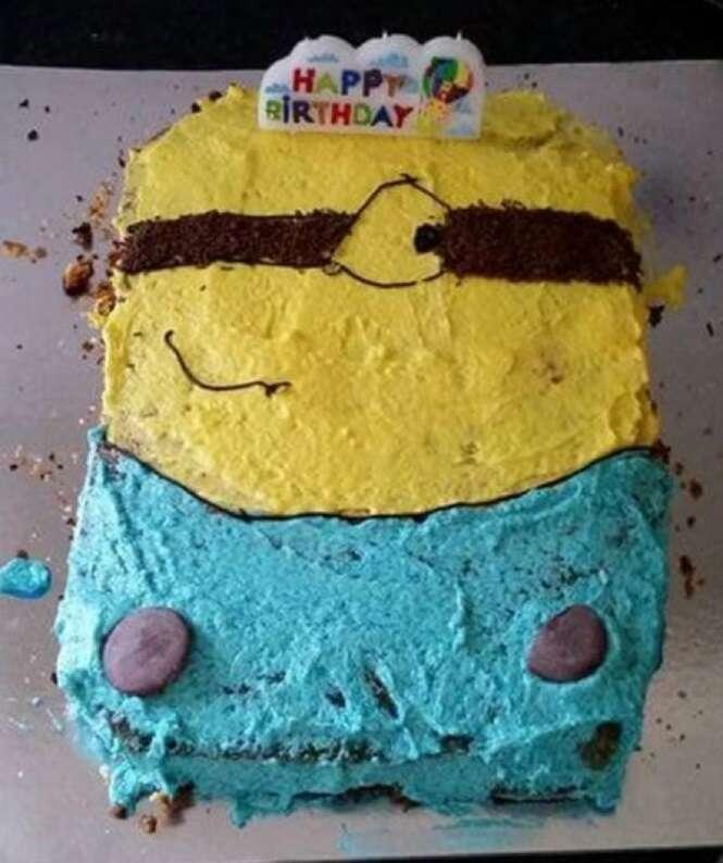Pessoas que se esforçaram para fazer bolos legais, mas que fracassaram de forma inesquecível