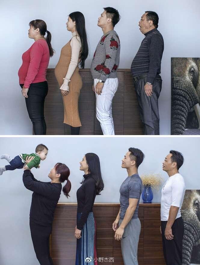O processo de transformação de família chinesa que entrou em forma em apenas 6 meses