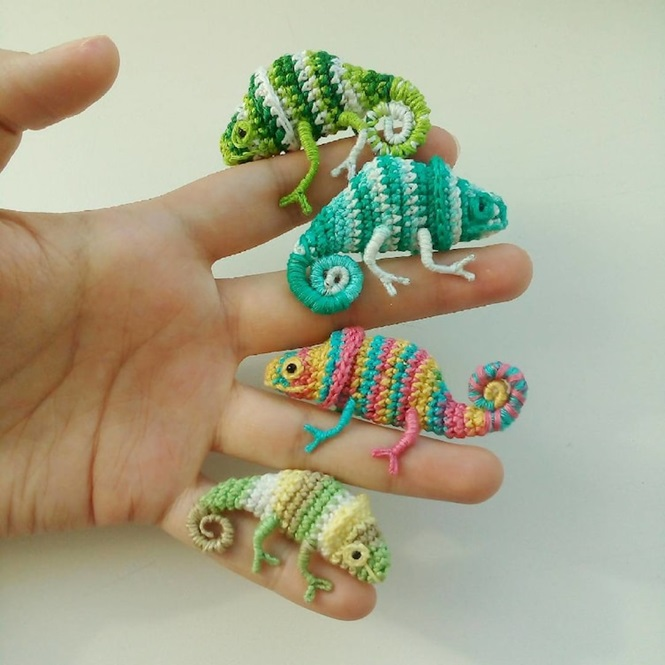 Minúsculos e incríveis camaleões feitos de crochê