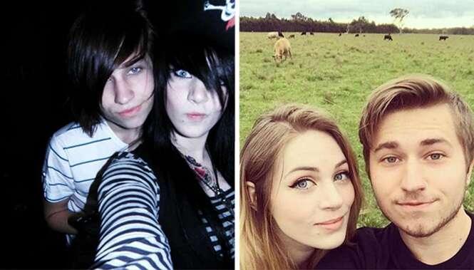 Antes e depois mostrando pessoas que foram rebeldes na adolescência