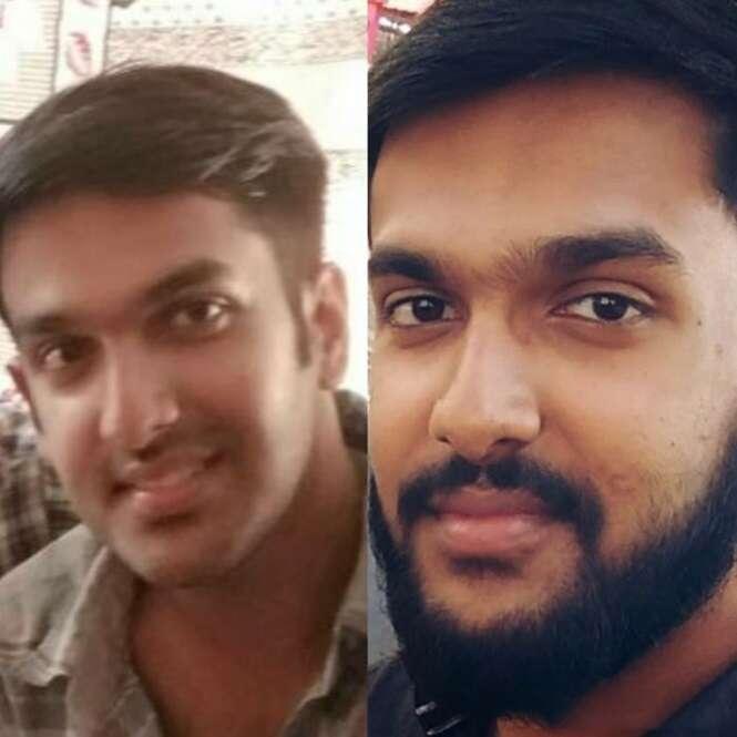 Homens antes e depois da barba