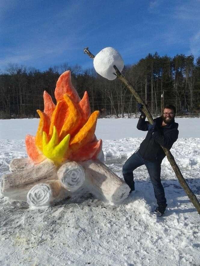 Pessoas que não deixaram seu senso de humor ser coberto pela neve