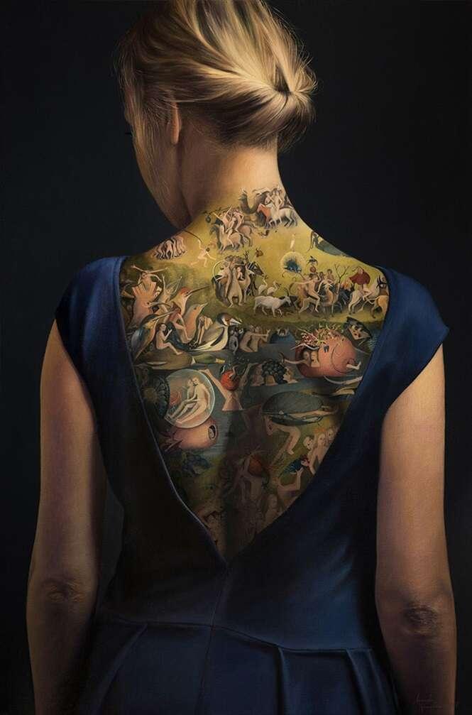 A impressionante tatuagem nas costas desta mulher não é o que parece