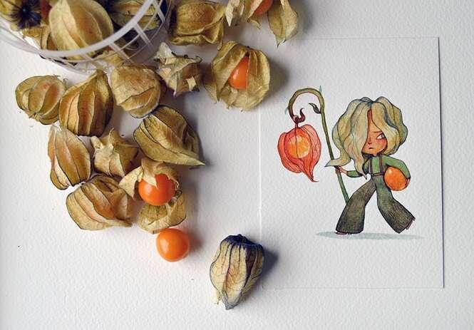 Artista cria personagens inspirados em frutas e vegetais