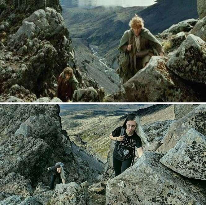 """Mulher recria cenas de """"O Senhor dos Anéis"""" nos locais onde foram filmadas"""