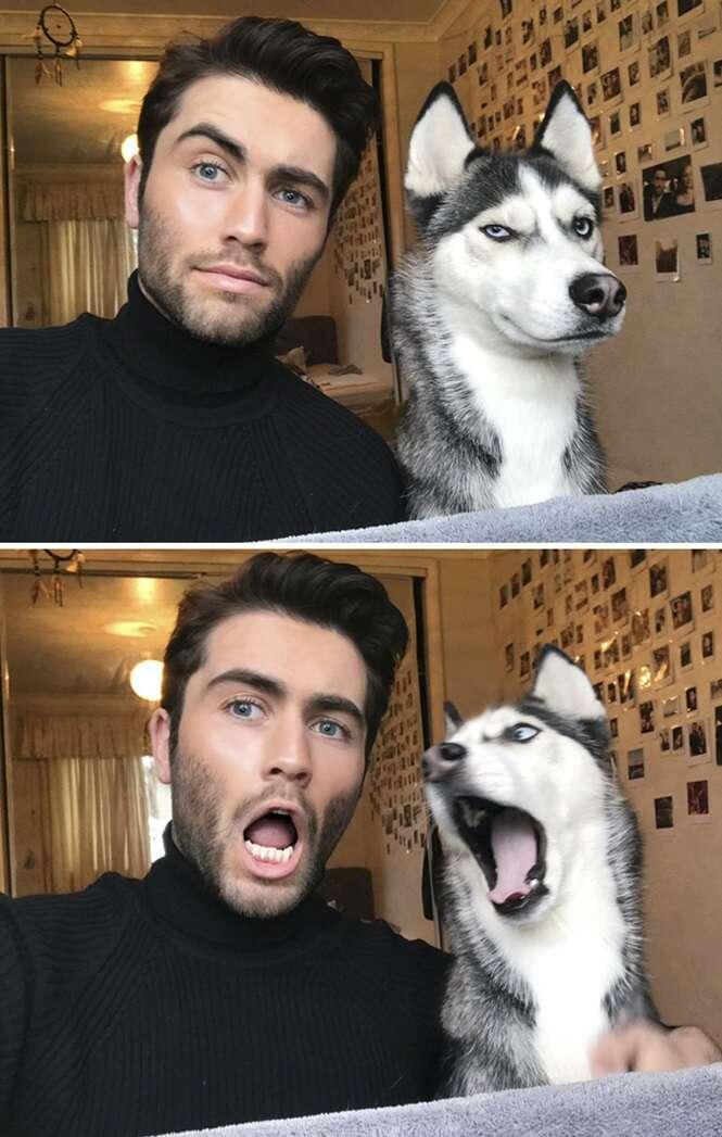 Este homem e seu cão inspiraram a mais adorável tendência: imitar a cara que seu cachorro fizer