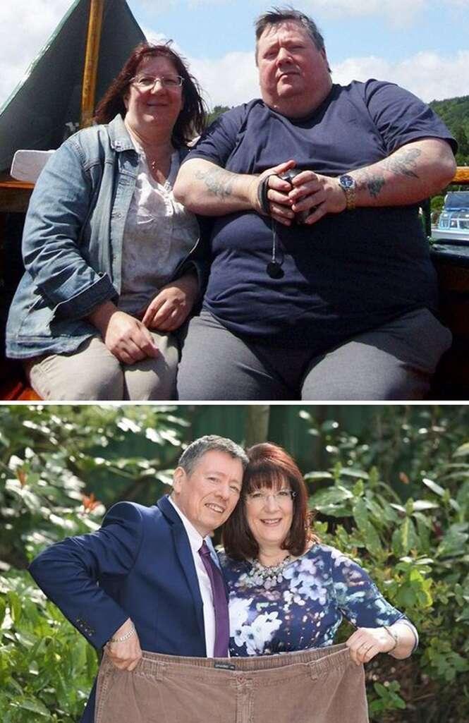 Fotos que mostram casais antes e depois de perderem peso juntos