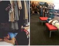 14 fotos que mostram homens que foram às compras com as companheiras em nome do amor