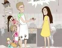 Mãe de 3 crianças ilustra em quadrinhos como é sua dura, mas divertida rotina